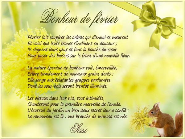 Poème Bonheur De Février écrit Par Sissi De La Part De Josiane